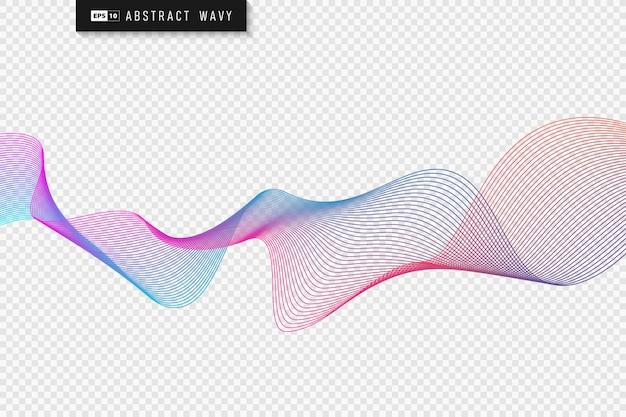 Абстрактная красочная линия дизайн фона элемента произведения искусства волнистый узор.