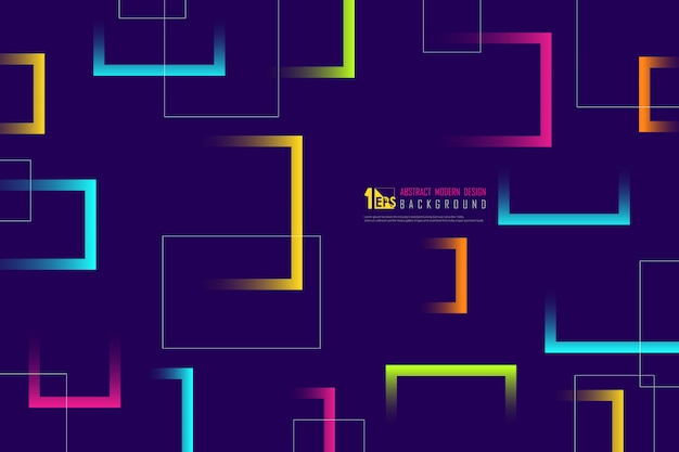 Abstract colorful line of square design tech background.