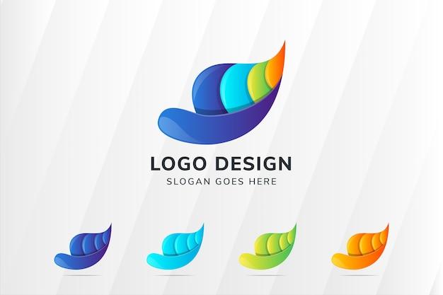 추상 다채로운 액체와 잎 로고 디자인 서식 파일. 종이 컷 스타일 디자인.