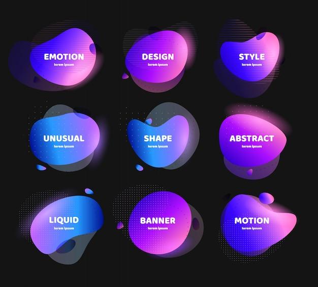 Набор абстрактных красочные жидкие геометрические фигуры. флюид градиентный дизайн для баннера, карты, брошюры. изолированные волны.
