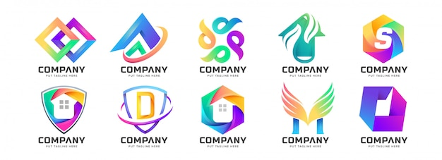 Abstract colorful logo collection for company