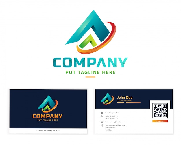 Abstract colorful logo collection with business card