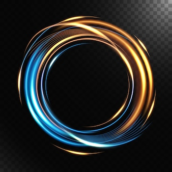 Abstract colorful luminous swirling, isolated on dark background.