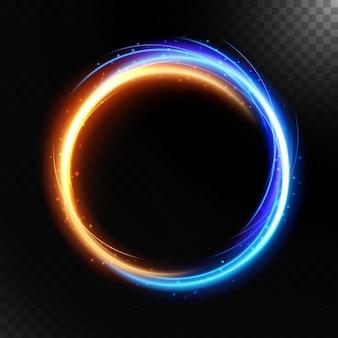Абстрактные красочные светящиеся закрученного, изолированные на темном фоне.