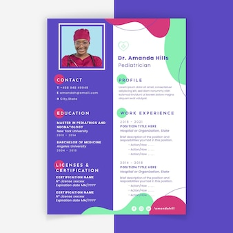 Abstract colorful medical resume