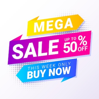 Abstract colorful mega sale discount banner