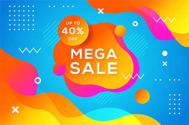 Abstract colorful mega sales memphis background