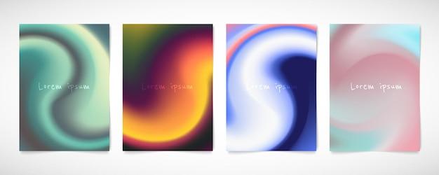 渦巻き模様のデザインテンプレートの抽象的なカラフルなメッシュセット。サークルスタイルのアートワークの背景のデザイン。