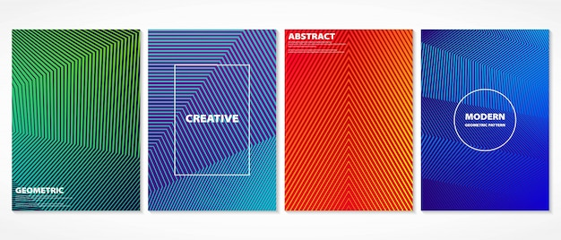 Abstract colorful minimal geometric design covers