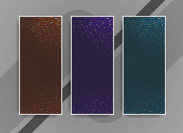 Abstract colorful modern dots banners set