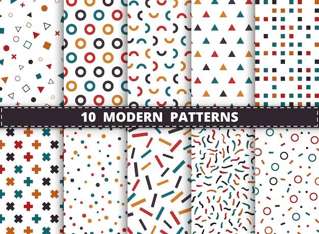 抽象的なカラフルなモダンな幾何学模様は白い背景に設定します。幾何学模様のアートワーク、広告、包装、印刷のスタイルを飾る。