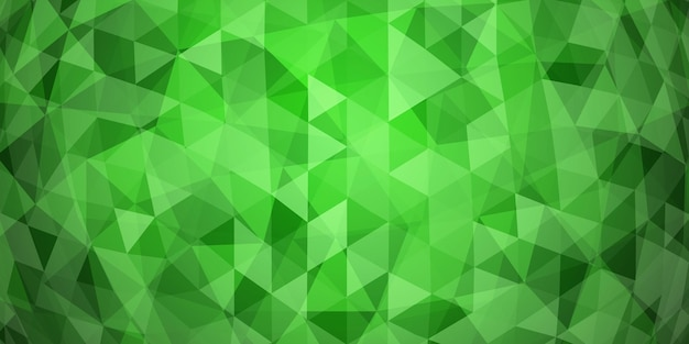 Abstract colorful mosaic background of translucent triangles in green colors