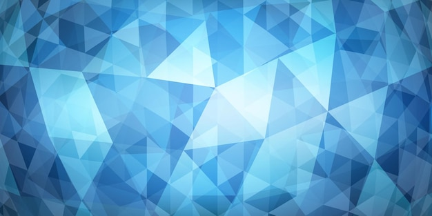 Abstract colorful mosaic background of translucent triangles in light blue colors