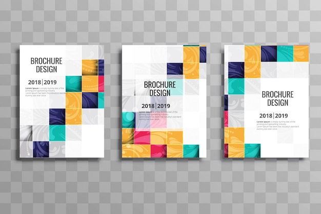 Abstract colorful mosaic business brochure template set