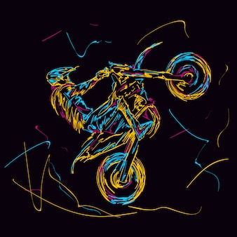Abstract colorful motorcross racer