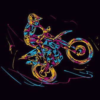 Abstract colorful motorcross