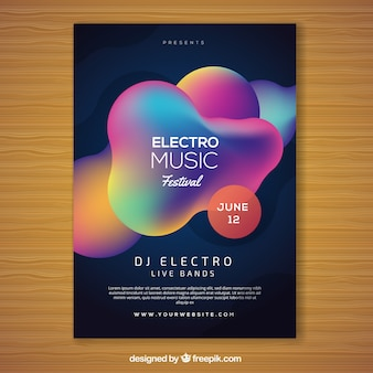 Abstract colorful music festival flyer template