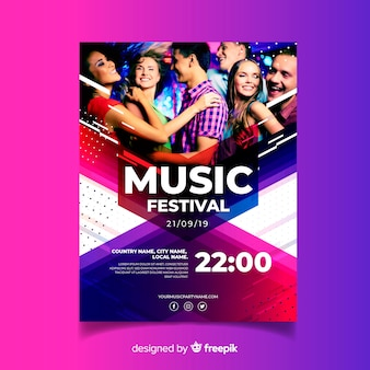Abstract colorful music poster template with photo