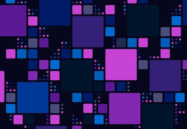 未来的な正方形のミックスサイズのパターンデザインアートワーク技術の背景の抽象的なカラフル。