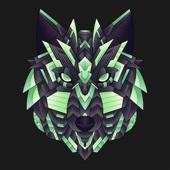 Абстрактный красочный орнамент каракули zentangle искусство волк иллюстрации мультфильм концепции вектор. подходит для логотипа, обоев, баннера, фона, открытки, книжной иллюстрации, дизайна футболки, наклеек, обложек и т. д.