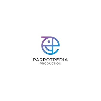 Abstract colorful parrot bird logo design in monoline style