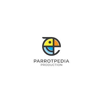 抽象的なカラフルなオウム鳥のロゴデザイン