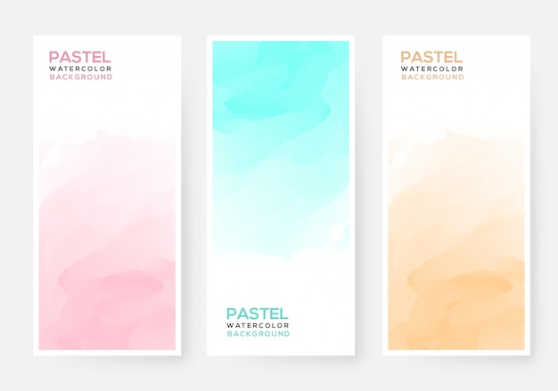 Abstract colorful pastel watercolor banner