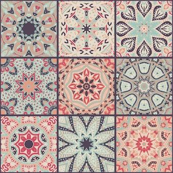 추상 화려한 패치워크 원활한 패턴, 민족 장식품., 아랍어, 인도 모티브