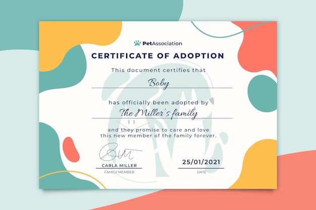 Abstract colorful pets certificate