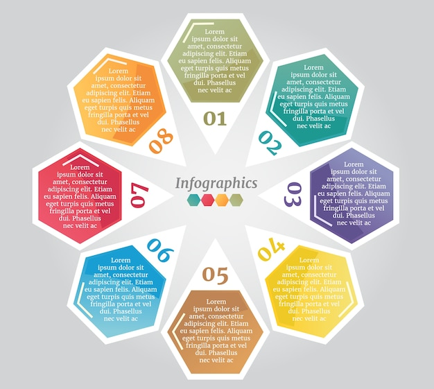 Abstract colorful pins hexagon business options or step infographics template