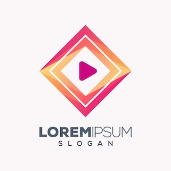 Абстрактный красочный игровой дизайн логотипа