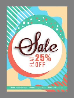 Abstract colorful poster, banner or flyer design of sale with flat 25% off.