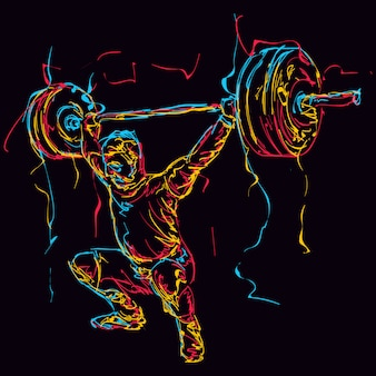 Abstract colorful powerlifter