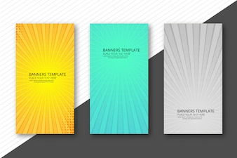 Abstract colorful rays banners set template background