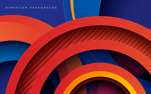 Abstract colorful round dimension layers background