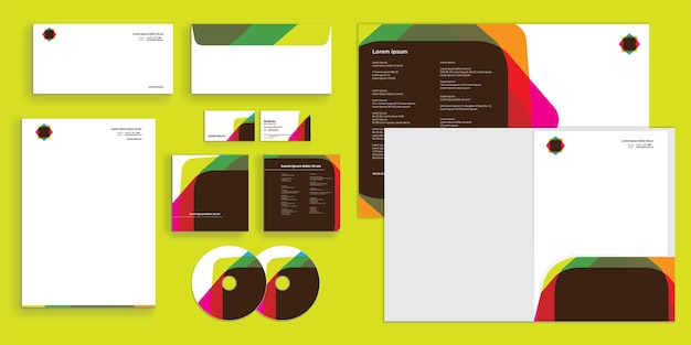 Abstract colorful rounder square shape corporate business identity stationary