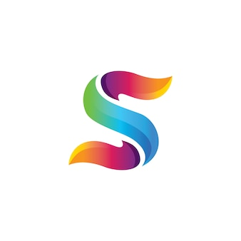 Abstract colorful s letter logo in gradient color