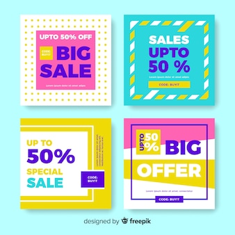 Abstract colorful sale instagram post collection