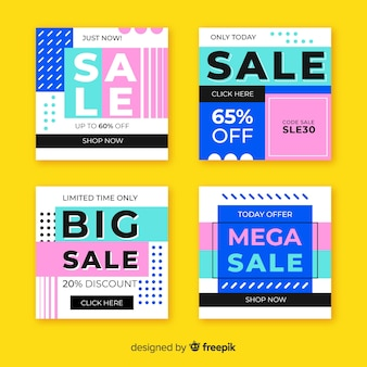 Abstract colorful sale instagram post set