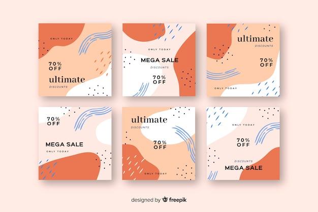 Набор абстрактных красочные продажи instagram пост