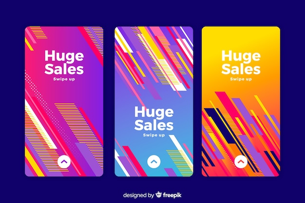 Abstract colorful sale instagram stories