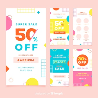 Abstract colorful sales banner templates collection