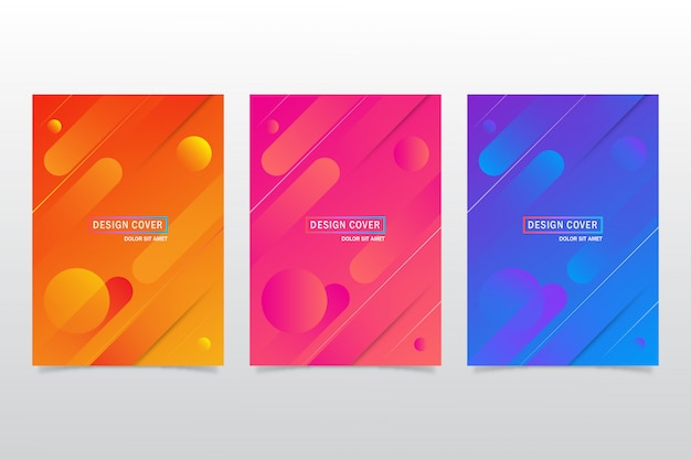 Abstract colorful set of cover design template or flayer