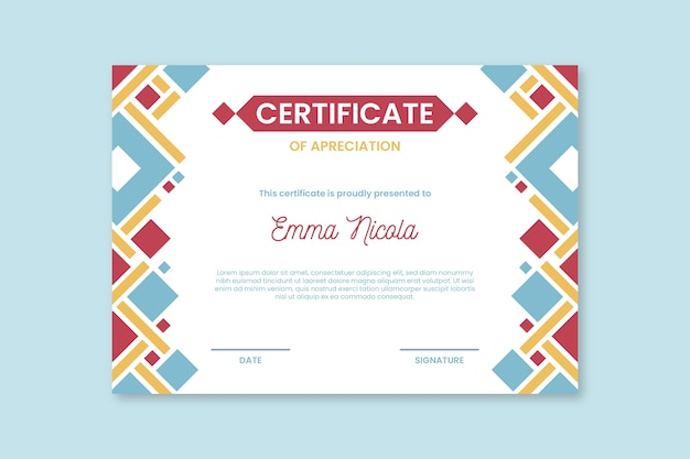 Abstract colorful shapes certificate template