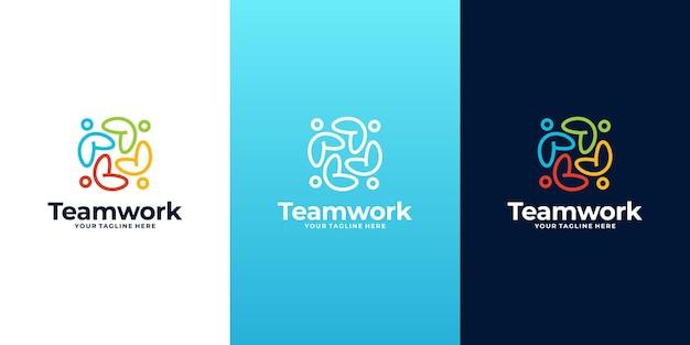 抽象的なカラフルな社会集団のロゴ、チームワークのロゴ