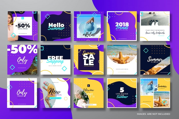 Abstract and colorful social media post templates