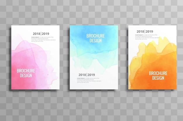 抽象的なカラフルなソフト水彩ビジネスパンフレットのテンプレート