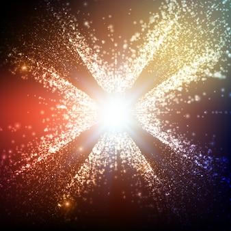 Astratto sfondo colorato spazio. esplosione di particelle incandescenti