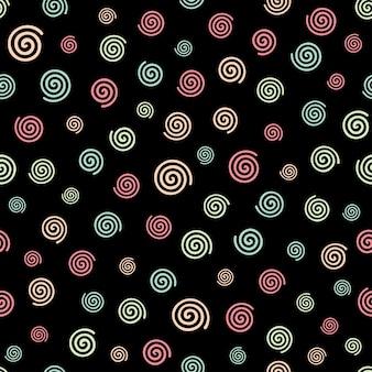 검은 배경 완벽 한 패턴에 추상 화려한 나선형 mofit