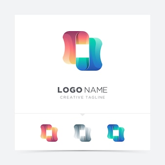 Abstract colorful square shape logo variation